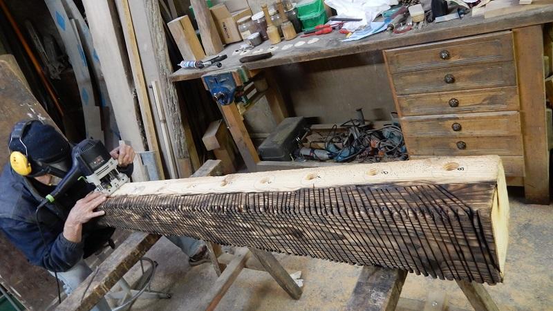 Création du Totem Alliance n°2 en épicéa à l'atelier de Pierre Rolland
